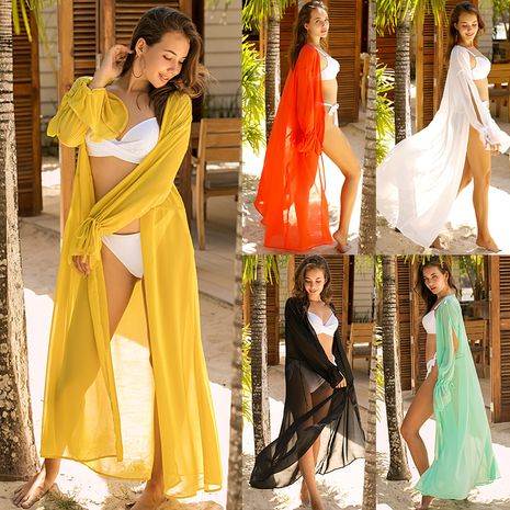 summer fashion new  sexy solid color chiffon V-neck big swing dress beach sunscreen skirt wholesale nihaojewelry NHDF221938's discount tags