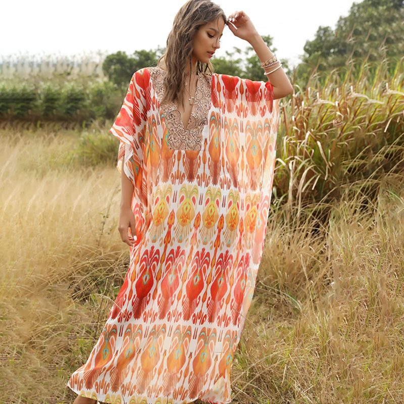 summer  fashion new national wind robe V-neck dress women's clothing wholesale nihaojewelry NHDF221939