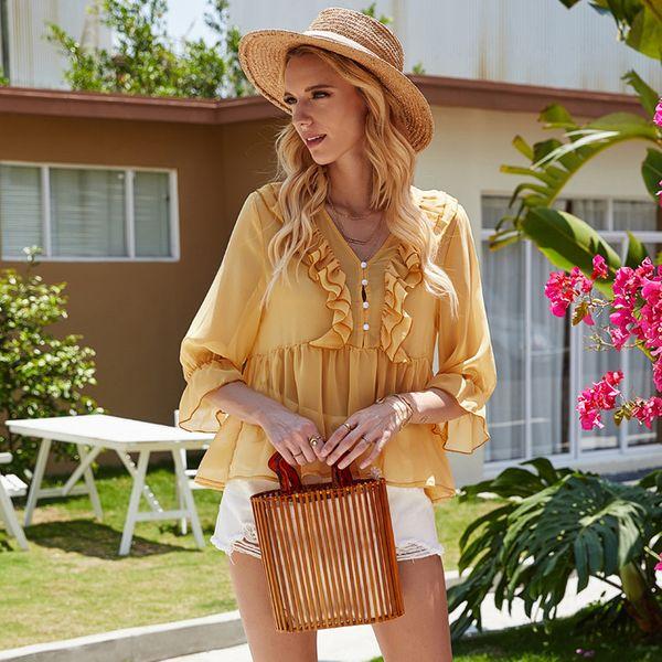 summer fashion  new women's simple  style  loose  shirt wholesale nihaojewelry NHDF221955