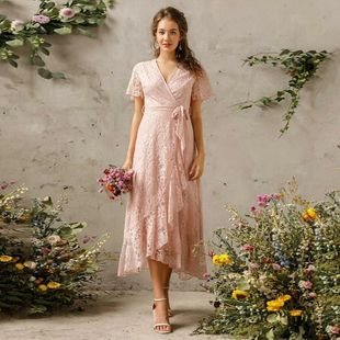 summer new fashion V-neck lace strap dress front short back long banquet evening dress long skirt wholesale nihaojewelry NHDF221958's discount tags