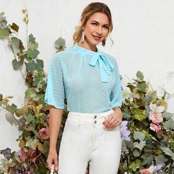 summer new small shirt blue blouse fashion wild polka dot shirt short sleeve chiffon shirt wholesale nihaojewelry NHDF221964