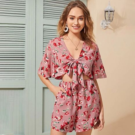 summer new floral chiffon bat sleeve jumpsuit suit female casual deep v bow tie lace shorts wholesale nihaojewelry NHDF221972's discount tags