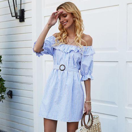 summer new beachwear ladies half-sleeved blue striped one-line collar short skirt spot wholesale nihaojewelry NHDF221973's discount tags