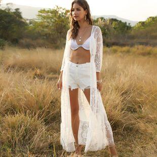 seaside beach vacation swimsuit bikini smock white sunscreen lace lace cardigan smock wholesale nihaojewelry NHDF221987's discount tags