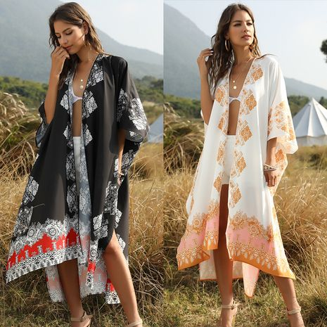 summer women's floral print cardigan loose casual beach vacation blouse wholesale nihaojewelry NHDF222013's discount tags