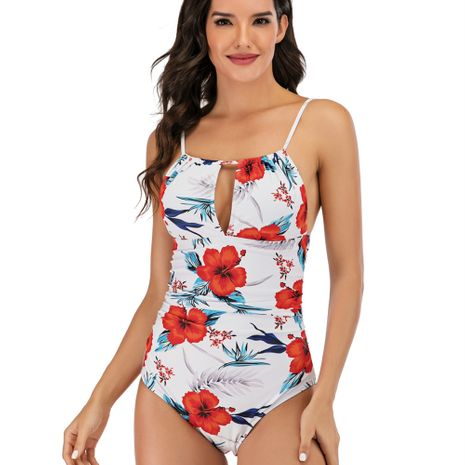 swimsuit printing deep V strap ladies one-piece bikini swimsuit wholesale nihaojewelry NHHL222022's discount tags