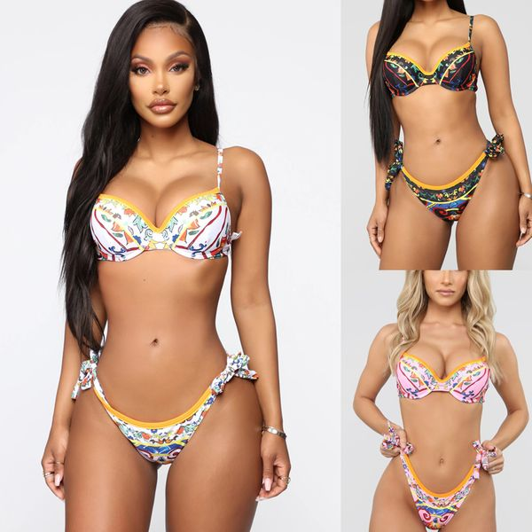 new  fashion simple sexy  digital printed  steel tray gathers ladies split swimsuit  bikini nihaojewelry wholesale NHHL222025