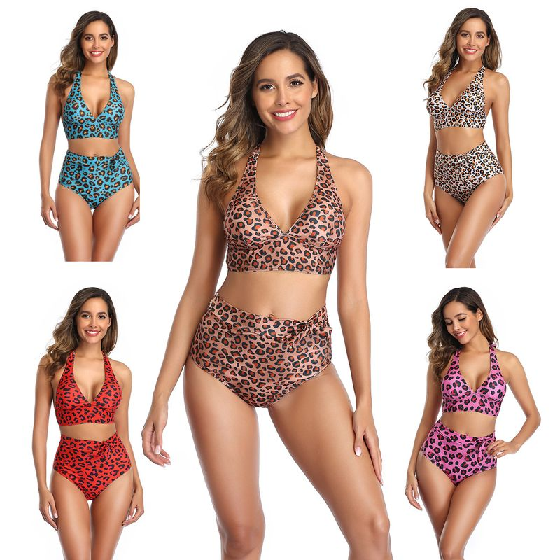 fashion  new ladies leopard print sexy bikini split swimsuit nihaojewelry wholesale NHHL222035