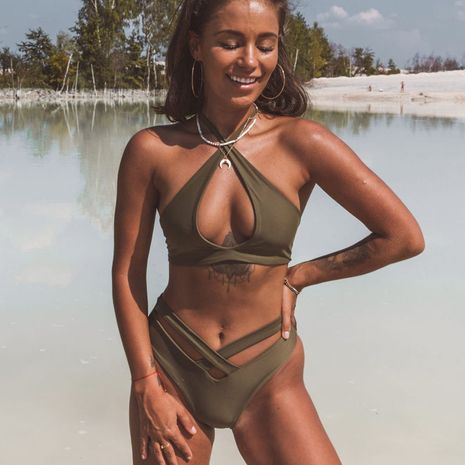 fashion new sexy  bikini new solid color swimsuit sexy cross bikinii for women  nihaojewelry wholesale NHHL222042's discount tags