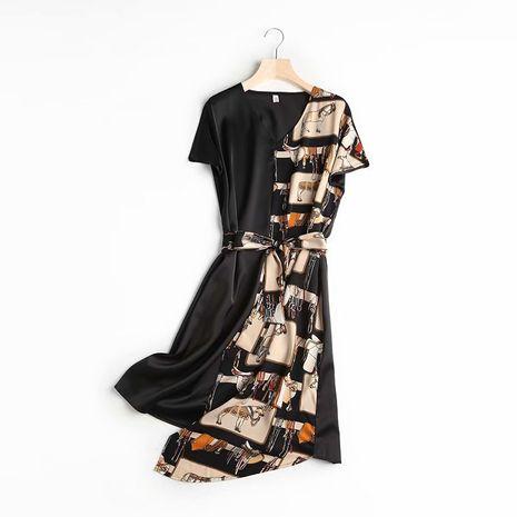 V-neck cartoon anime graffiti color matching long dress wholesale nihaojewelry NHAM222069's discount tags