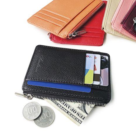 nouvelle mode coréenne fermeture à glissière créative porte-monnaie paquet carte ensembles de cartes contraste couleur portefeuille litchi motif portefeuille en gros nihaojewelry NHBN222080's discount tags