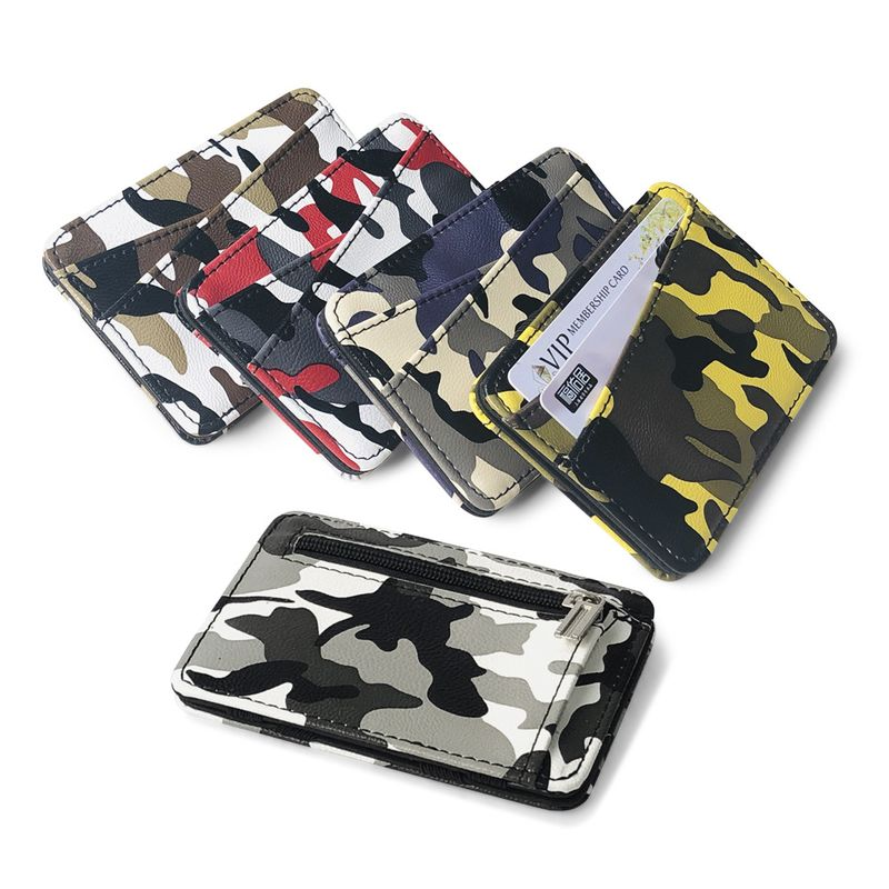 Moda coreana creativa camuflaje PU cuero bolsa mgica nueva cremallera monedero mini billetera flip billetera delgada al por mayor nihaojewelry NHBN222087