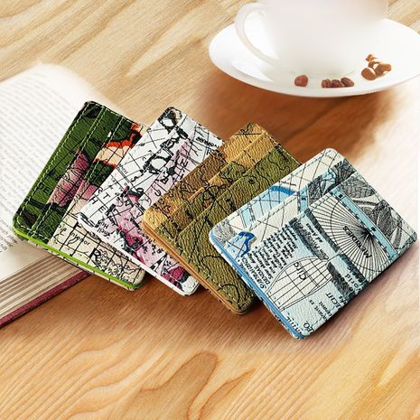 new map pattern creative magic wallet trend money clip PU double-sided coin purse wholesale nihaojewelry NHBN222089's discount tags