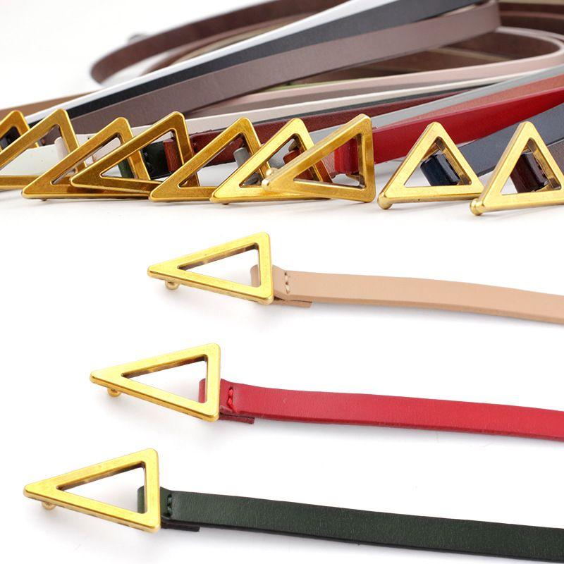 Nuevo triángulo retro decorativo de dos capas de cuero de vaca anudado cinturón de cuero salvaje falda delgada cinturón al por mayor nihaojewelry NHPO222099