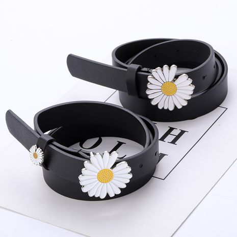 New small daisy flower decoration belt student fashion dress jeans ladies thin belt wholesale nihaojewelry NHPO222100's discount tags