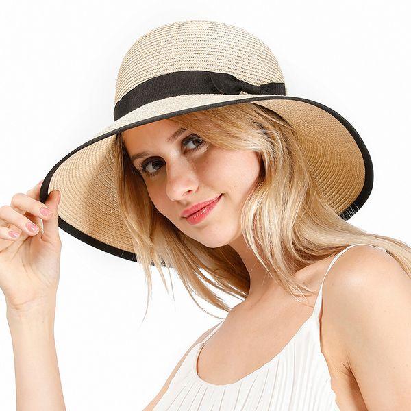 Straw hat ladies summer new travel sun hat Korean fashion simple casual bowknot wild shade fisherman hat wholesale nihaojewelry NHXO222109