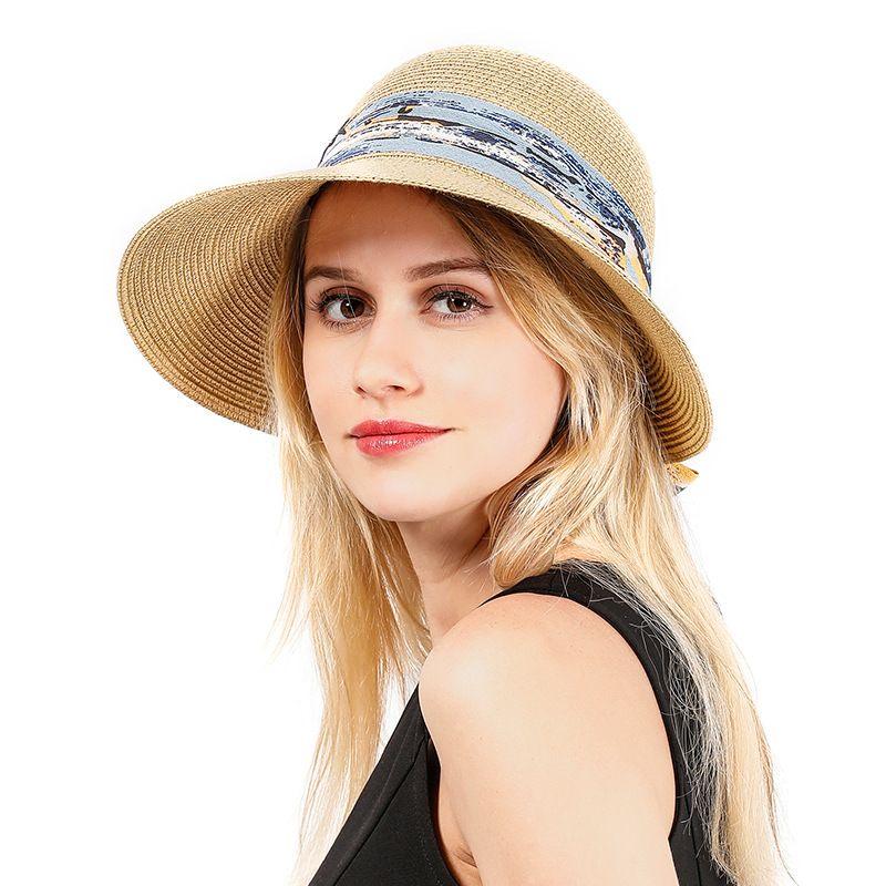 Straw hat summer new travel sunscreen sun hat foldable seaside beach hat bow ribbon streamer sun hat wholesale nihaojewelry NHXO222118