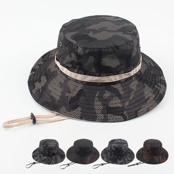 Hat summer sun protection sun hat middle-aged and elderly outdoor leisure fishing hat fashion camouflage breathable fisherman hat wholesale nihaojewelry NHXO222124