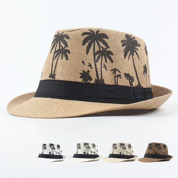 Men's hat summer printing coconut tree small brim curling top hat couple seaside British Sir visor straw hat wholesale nihaojewelry NHXO222126