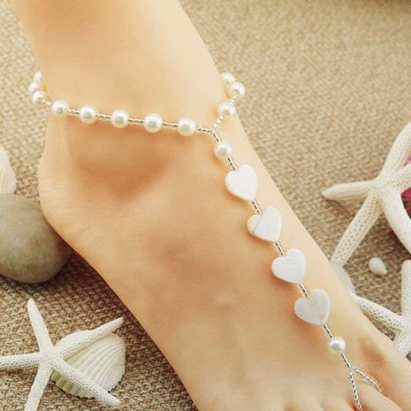 fashion simple wild rice pearl pearl love shell anklet wholesale nihaojewelry NHSC222292's discount tags