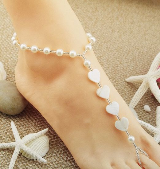 fashion simple wild rice pearl pearl love shell anklet wholesale nihaojewelry NHSC222292
