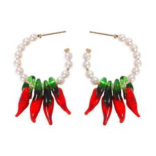 Bohemian red chili pearl creative fashion earrings beaded earrings wholesale nihaojewelry NHJQ229990's discount tags
