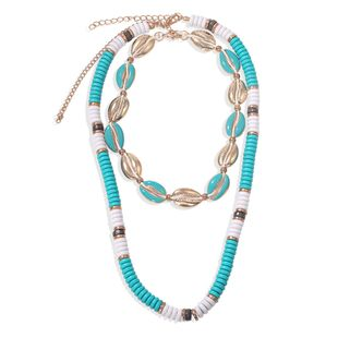 Bohemian ethnic style drop beads metal shell beads double-layer necklace fashion multi-layer seaside wholesale nihaojewelry NHJQ229991's discount tags