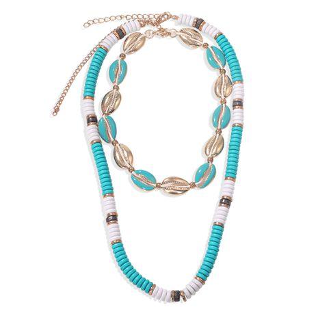 Bohème ethnique style goutte perles en métal coquille perles double couche collier mode multicouche bord de mer en gros nihaojewelry NHJQ229991's discount tags