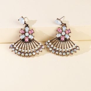Hot Selling Hollow Sector Alloy Pendant Earrings Retro Fashion Accessories wholesale nihaojewelry NHJJ229996's discount tags