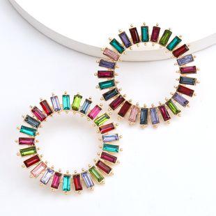 Fashion color diamond series simple rhinestones diamonds radial round earrings wholesale nihaojewelry NHJE229999's discount tags