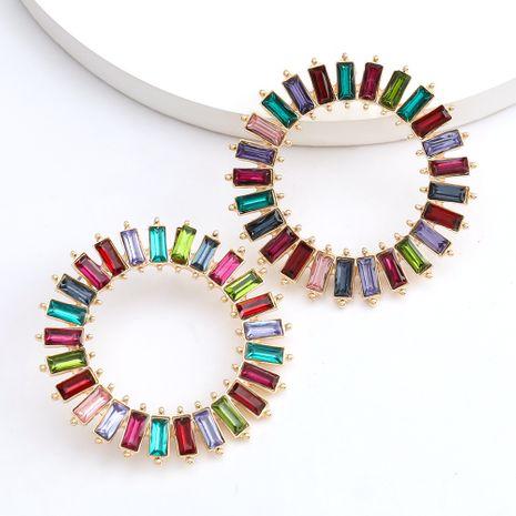 Mode couleur diamant série simple strass diamants radiaux boucles d'oreilles rondes en gros nihaojewelry NHJE229999's discount tags