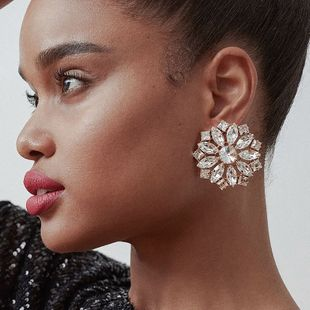 exaggerated big alloy rhinestone diamond round flower earrings super flash super fairy earrings wholesale nihaojewelry NHJE230001's discount tags