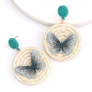 summer Korean rattan woven lace butterfly round earrings girl heart wholesale nihaojewelry NHJE230002's discount tags