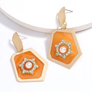 new polygonal alloy resin diamond pearl geometric earrings wholesale nihaojewelry NHJE230004's discount tags
