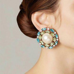 simple alloy rhinestones diamonds pearl earrings fashion generous ear jewelry wholesale nihaojewelry NHJE230006's discount tags