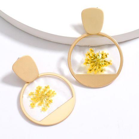vente chaude ronde alliage résine incrusté fleur élégant boucles d'oreilles en gros nihaojewelry NHJE230007's discount tags