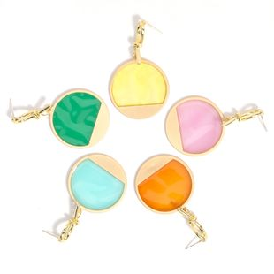 new style combined with gold round resin geometric simple earrings wholesale nihaojewelry NHJE230008's discount tags