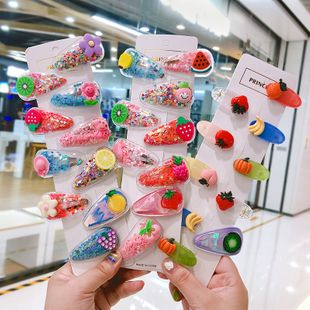 Korean cute side clip quicksand fruit sequin hair clip girl heart color clip headdress wholesale nihaojewelry NHNA230015's discount tags