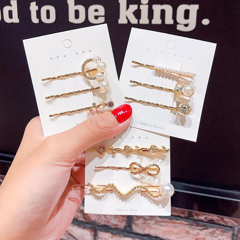 Simple metal word clip with diamond pearl hairpin girl decoration hair accessories wholesale nihaojewelry NHNA230025