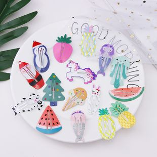 Summer cute handmade paint printing hairpin Korean girl cartoon animal fruit hairpin hair accessories wholesale nihaojewelry NHNA230027's discount tags