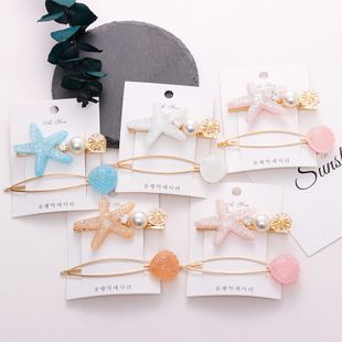 Simple crystal starfish shell hair clip set Korean side clip hair accessories wholesale nihaojewelry NHNA230028's discount tags