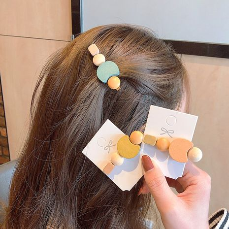 Korean wood color wild hair clip retro simple hairpin clip headdress hair accessories wholesale nihaojewelry NHNA230047's discount tags