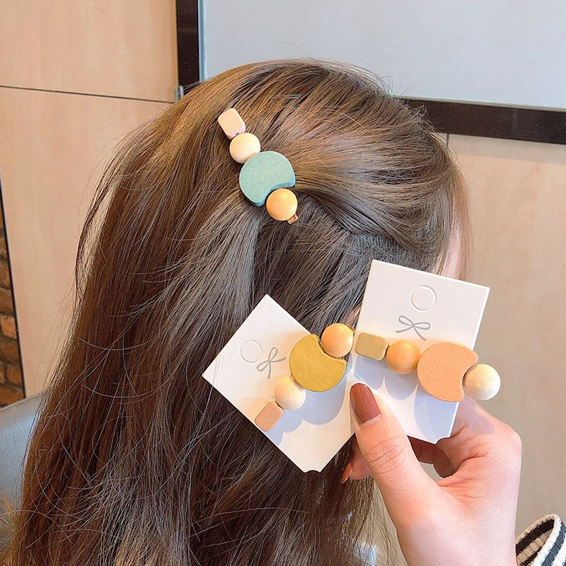 Korean wood color wild hair clip retro simple hairpin clip headdress hair accessories wholesale nihaojewelry NHNA230047