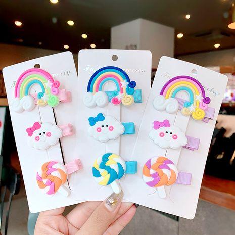 Conjunto de horquilla de paleta de nube de arco iris para niños coreanos accesorios para el cabello de clip de pico de pico de horquilla de niña linda al por mayor nihaojewelry NHNA230060's discount tags