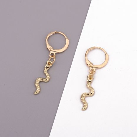 Punk curved snake pendant ear ring new Gothic animal earrings ear buckle wholesale nihaojewelry NHGO230074's discount tags