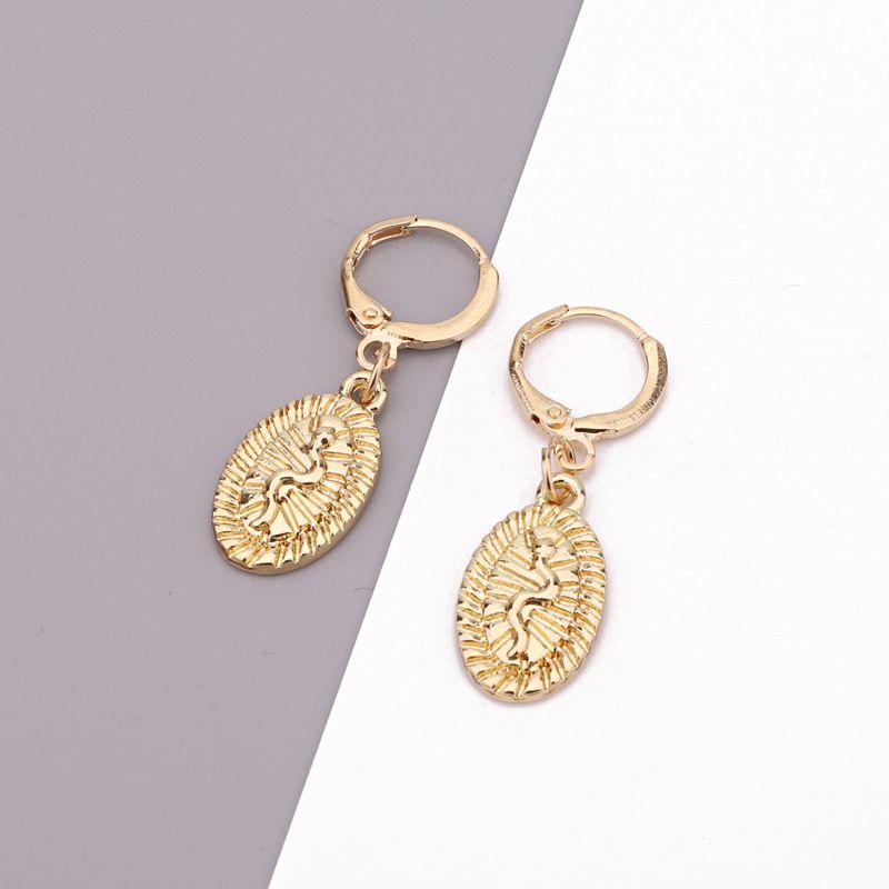 retro engraving snake oval pendant ear ring ethnic wind punk ring earring wholesale nihaojewelry NHGO230079