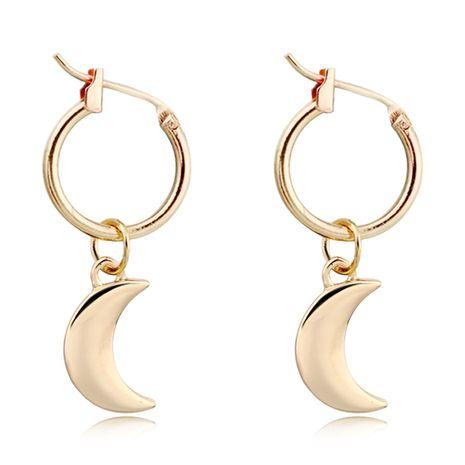boucles d'oreilles mode simple et exquise petite lune boucles d'oreilles brillant croissant pendentif anneau d'oreille en gros nihaojewelry NHGO230103's discount tags