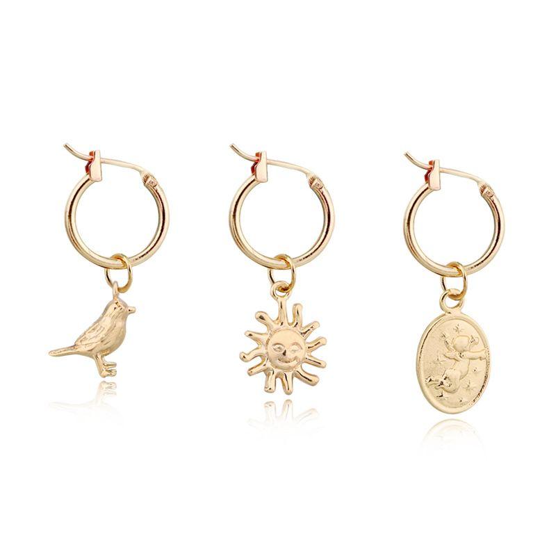 hot selling cute and delicate bird sun ellipse little angel Baby pendant ear ring hoop earring wholesale nihaojewelry NHGO230108