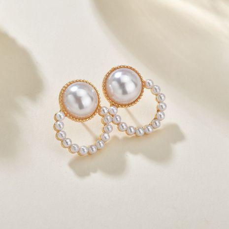 boucles d'oreilles aiguille argent boucles d'oreilles perle douce boucles d'oreilles design rond géométrique en gros nihaojewelry NHBQ230117's discount tags