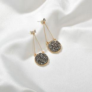 925 silver needle Korean bow earrings round black crystal full diamond long earrings wholesale nihaojewelry NHBQ230122's discount tags